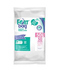 Sacos de Lixo Branco FortBag 50L