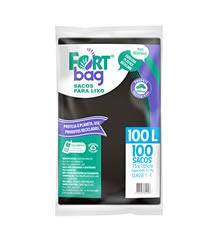 Sacos de Lixo Preto FortBag 100L