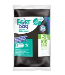 Sacos de Lixo Preto FortBag 15L