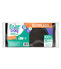 Sacos de Lixo Preto Reforçado FortBag 100L