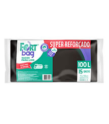 Sacos de Lixo Preto Super Reforçado FortBag 100L
